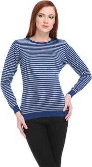 Club York Striped Round Neck Casual Women's Sweater - SWTE9S6GXBHENJZH