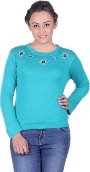 Belly Bottom Embroidered Round Neck Casual, Party Women's Green Sweater