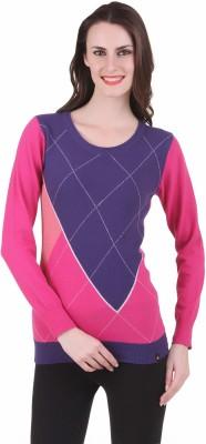 Juelle Juelle Checkered Round Neck Casual Women's Sweater (Multicolor)