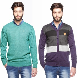 Aeroglide Solid, Striped V-neck Casual Men's Sweater
