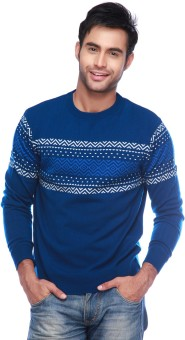 Vettorio Fratini By Shoppers Stop Self Design Round Neck Casual Men's Sweater