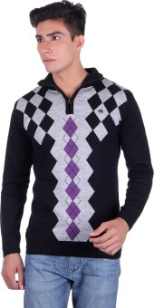 Fabtree Argyle, Solid Turtle Neck, V-neck Casual, Party, Festive Men's Sweater - SWTEBVQ3PG6HZF6C