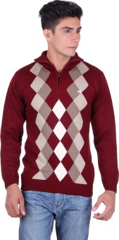 Fabtree Argyle, Solid Turtle Neck, V-neck Casual, Party, Festive Men's Sweater - SWTEBVQ3HHZAQEG3