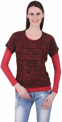 Juelle Juelle Self Design Round Neck Casual Women's Sweater (Brown)