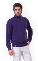 D-Green Solid Turtle Neck Casual Men's Sweater