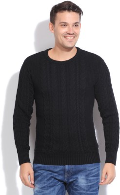 People Solid Round Neck Casual Men Sweater