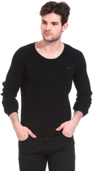 Saiints Solid Crew Neck Casual Men's Black Sweater