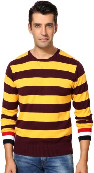 Peter England Striped Round Neck Casual Men's Sweater