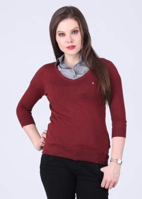 Get best deal for Arrow Solid V-neck Casual Women