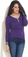 Soie Solid V-neck Casual Women's Sweater