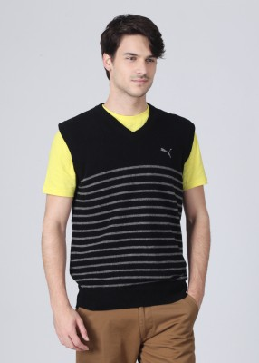 Puma Striped V-neck Casual Men's Sweater