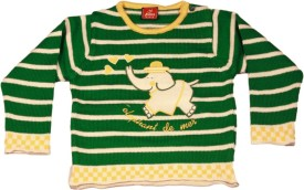 Kidax Striped, Embroidered Round Neck Casual, Festive, Party Baby Boy's Sweater