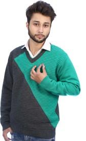 Bhagwan Knitwears Self Design V-neck Men's Sweater