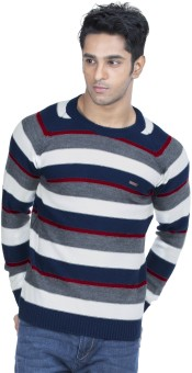 Zovi White, Navy Blue, Grey And Red Pullover Striped Round Neck Casual Men's Sweater