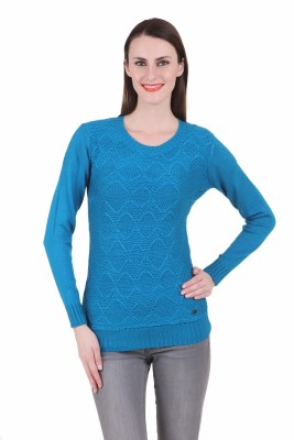 Juelle Juelle Self Design Round Neck Casual Women's Sweater (Turquoise)