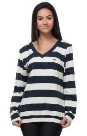 Kaxiaa Striped V-neck Casual Women's Sweater