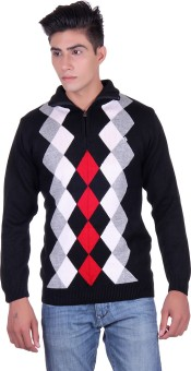Fabtree Argyle, Solid Turtle Neck, V-neck Casual, Party, Festive Men's Sweater - SWTEBVQ33GBHR5HV