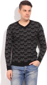Status Quo Self Design V-neck Casual Men's Sweater
