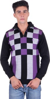Fabtree Solid, Checkered Turtle Neck, V-neck Casual, Party, Festive Men's Sweater - SWTEBVQ3GTDGXBPV