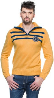 Zovi Sunset Yellow Pullover With Royal Blue And Applique Solid Turtle Neck Casual Men's Sweater