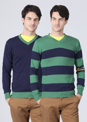 United Colors of Benetton Striped V-neck Casual Reversible Men's Sweater