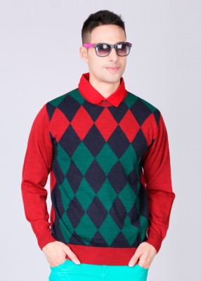 Monte Carlo Checkered Round Neck Casual Men's Sweater
