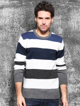 Wrogn Self Design Round Neck Casual Men's Sweater