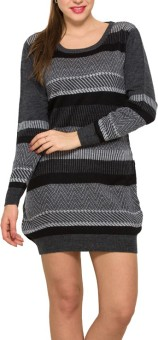 Park Avenue Striped Round Neck Formal Women's Black Sweater