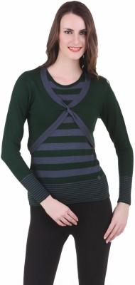 Juelle Juelle Self Design Round Neck Casual Women's Sweater (Green)
