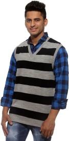 Sports 52 Wear Striped V-neck Casual Men's Reversible Sweater