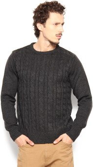 Peter England Self Design Round Neck Casual Men's Sweater - SWTE94SQ2GDEGUCF
