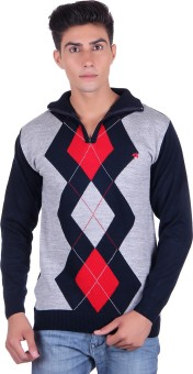 Fabtree Argyle, Solid Turtle Neck, V-neck Casual, Party, Festive Men's Sweater