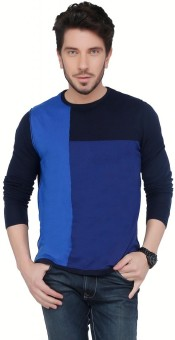 Cottonworld Solid Crew Neck Casual Men's Blue Sweater
