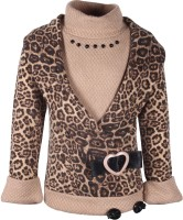 Cutecumber Animal Print Turtle Neck Party Baby Girl's Sweater