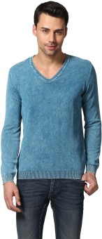 GOAT Solid V-neck Casual, Formal, Festive, Party Men's Light Blue Sweater