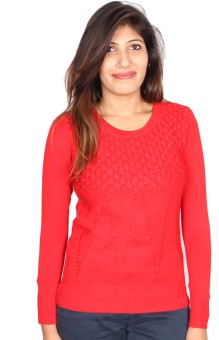 GnC Self Design Round Neck Casual, Formal, Sports, Party Women's Sweater