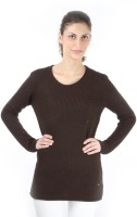 Again Solid Round Neck Casual Women's Sweater - SWTDXZF5KVEQE879