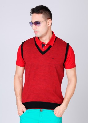 Monte Carlo Solid V-neck Casual Men's Sweater