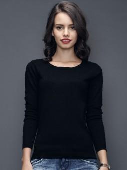 Sela Self Design Round Neck Casual Women's Sweater