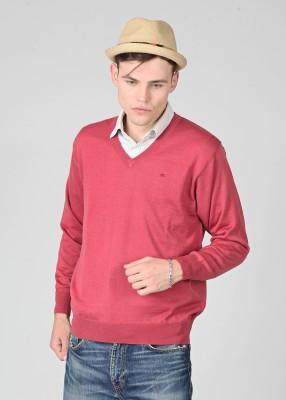 Monte Carlo Solid V-neck Casual Men's Sweater