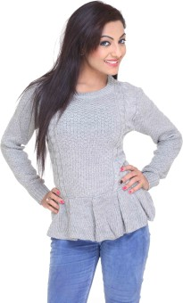 Club York Solid Round Neck Casual Women's Sweater - SWTE96W389CVSAGZ