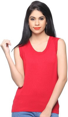 Madame Madame Solid Round Neck Casual Women's Sweater (Red)