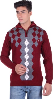 Fabtree Argyle, Solid Turtle Neck, V-neck Casual, Party, Festive Men's Sweater - SWTEBVQ3FGQATRFT