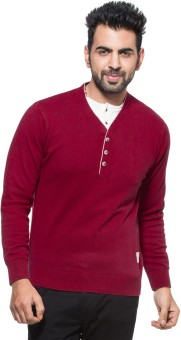 Zovi Red Solid V-neck Casual Men's Sweater