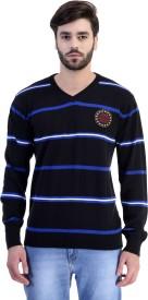 Austin Wood Striped V-neck Men's Sweater