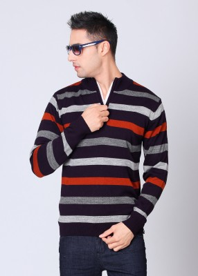 Peter England Striped High Neck Casual Men's Sweater