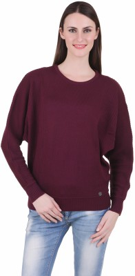 Juelle Juelle Solid Round Neck Casual Women's Sweater (Red)
