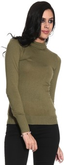 Gasser Ma2845do-Green Solid Turtle Neck Casual Women's Sweater