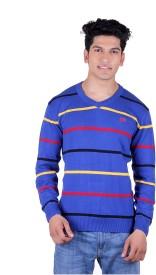 Ogarti Solid, Striped V-neck Casual Men's Sweater