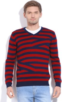 Van Heusen Sport Striped V-neck Casual Men's Sweater